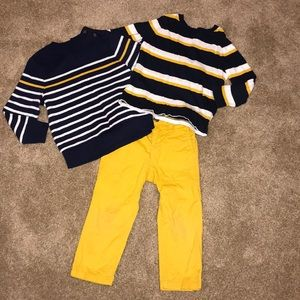 3-piece navy and yellow outfit